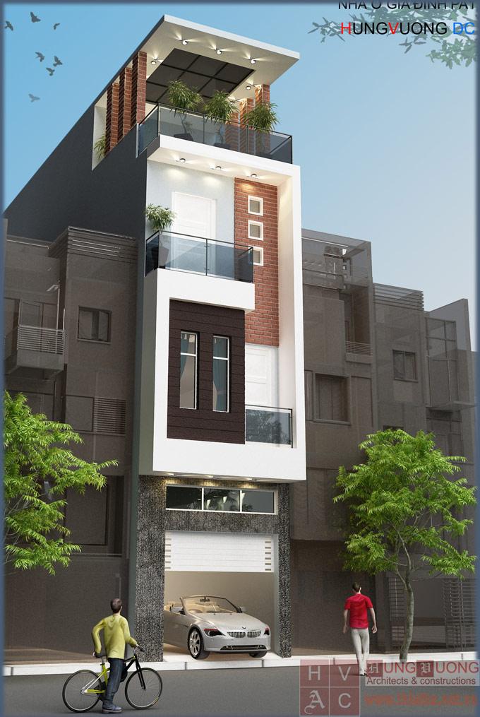 Mẫu nhà phố mặt tiền 4m theo phong cách hiện đại.