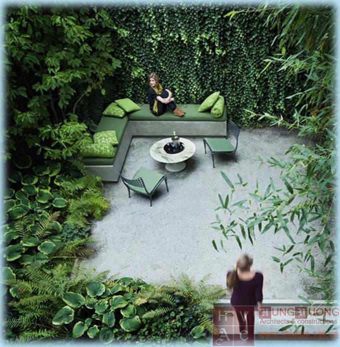 Vườn xanh trong nhà phố, căn hộ.